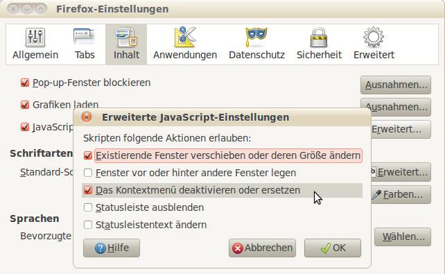 Kontextmenü Firefox Javascript