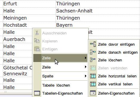 Kontextmenü Tabelle Firefox