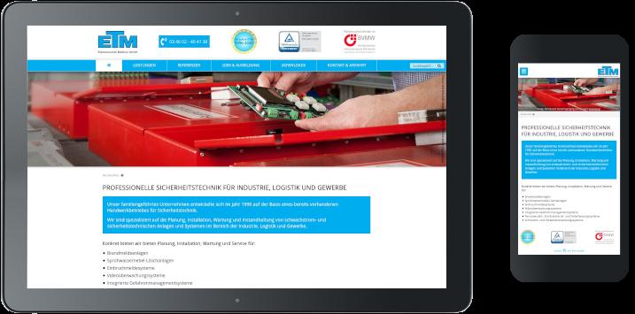 Referenz Homepage-Erstellung ETM Meißner GmbH