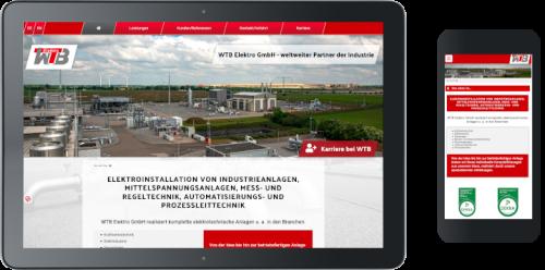 Homepage der WTB Elektro GmbH ©