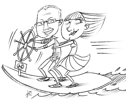 Winfried und Christiane auf Surftour in den 90er Jahren mit dem Netscape-Navigator