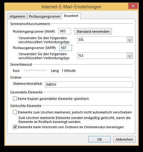Outlook sichere Verbindung