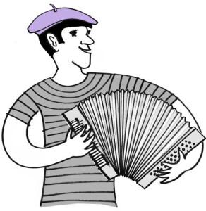 Webdesigner spielt Zieharmonika