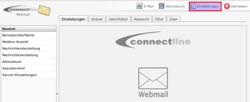 Webmail Einstellungen öffnen
