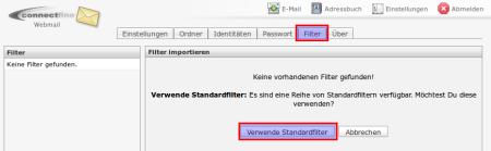 verwende Standardfilter