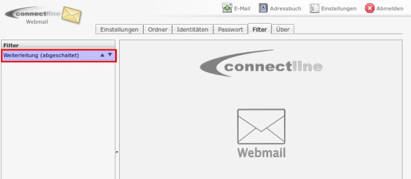 Webmail Filterregeln zum Konfigurieren öffnen