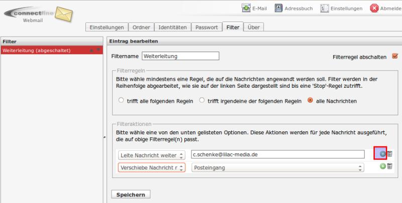 Webmail mehrere Filter einrichten