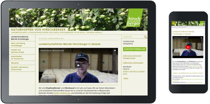 Webdesign-Umsetzung Hopfen Hirschberger